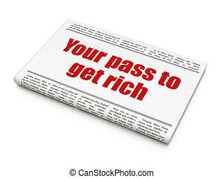 财政, 得到, 标题, 富有, 传递, 报纸, 你, concept:
