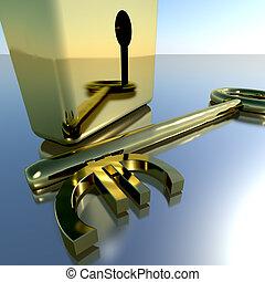 财政, 金子, 挂锁, 显示, 银行业务, 储蓄, 钥匙, 欧元