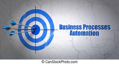 财政, concept:, 目标, 同时,, 商业, 过程, 自动化, 在上, 墙壁, 背景