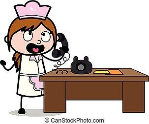 责骂, -, 描述, 厨师, 电话, 矢量, retro, 女性, 卡通漫画, 女服务员