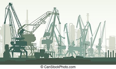 货物, 描述港口, tower., 水平, 起重机