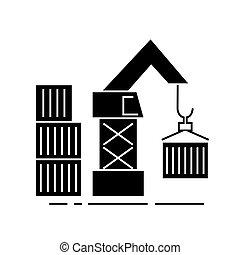 货物, 描述, 隔离, 签署, 仓库, 矢量, 背景, 图标, 起重机