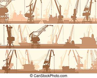 货物, 起重机, 港口, tower.