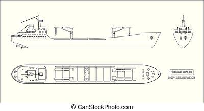 货物, outline, 图, 背景, 船, 白色