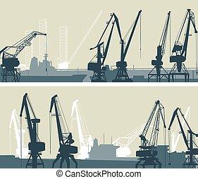 货物, towers., 大, 港口, 矢量, 起重机, 旗帜