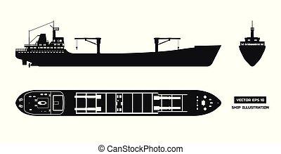 货船, 侧面影象, 白的背景