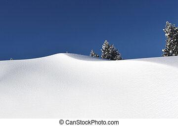 质朴, 山, 雪