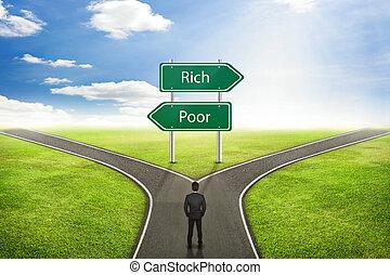 贫穷, 或者, 概念, 签署, way., 富有, 商人, 正确, 道路