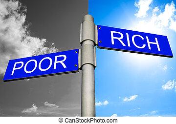 贫穷, 显示, 街道, 富有, 签署, 方向