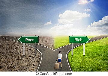 贫穷, 概念, 或者, way., 富有, 商人, 正确, 道路