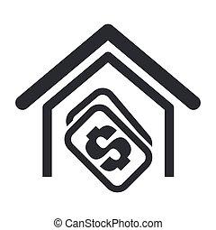 购买, 房子, 隔离, 描述, 单一, 矢量, 图标