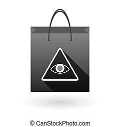 购物袋, 图标, 带, 一, 所有, 看见, 眼睛