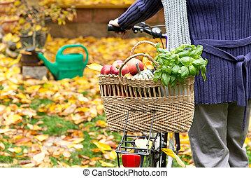 购物袋, 带, 自行车