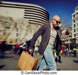 购物, 人, 袋子, 匆忙, 中年