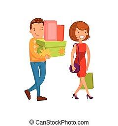 购物, 购物, 家庭, 夫妇, 描述, 商场, 矢量, 卡通漫画, 开心