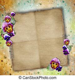 贺卡, 对于, 母亲天, 带, 三色紫罗兰, 同时,, 老, 纸