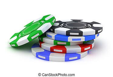 赌博芯片, 不同, 颜色