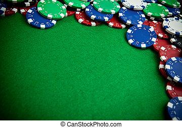 赌博芯片, -, 斜角, 察看, 带, 葡萄饰