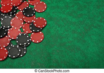 赌博芯片, 结束, 绿色感到, 带, 复制, space., i?ve, 得到, 更多, 扑克牌, 形象