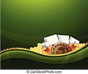 赌博, 元素, 绿色的背景, 娱乐场