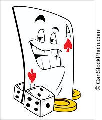 赌博, 吉祥人, 刺花样, 矢量