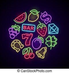 赌博, 娱乐场, 游戏, 氖, 标识语, 带, 狭缝机器, 明亮, 图标