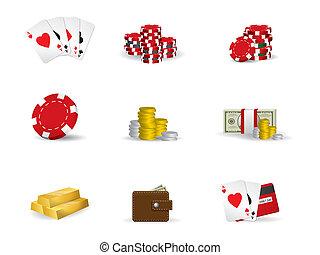 赌博, -, 扑克牌, 图标, 放置