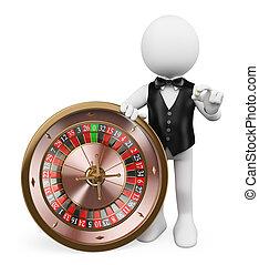赌场里的管理员, 轮盘赌, 人们。, 娱乐场, 白色, 3d