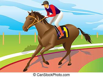 赛马职业骑师, 骑, a, 棕色的马