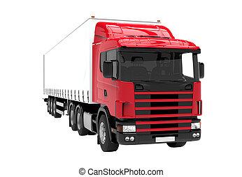 赤い、そして白い, トラック, 隔離された, 上に, a, 白い背景