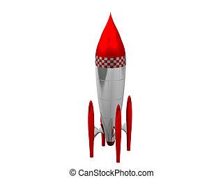 赤い、そして白い, 3d, ロケット, 中に, 白い背景