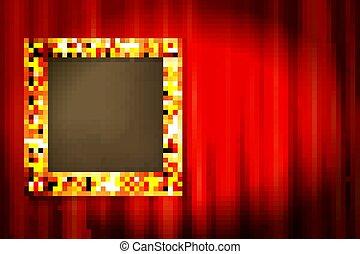 赤いカーテン, 金, フレーム, 停止された