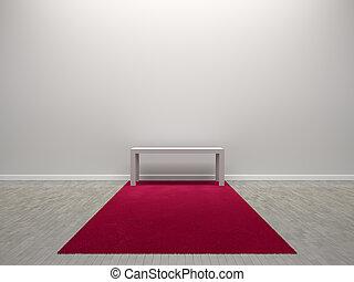 赤いカーペット, 部屋