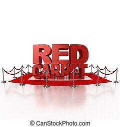 赤いカーペット, 隔離された, イラスト, 3d