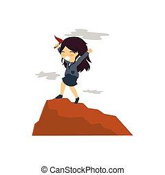 赤いトップ, 旗, 山, 女性実業家, hoisted