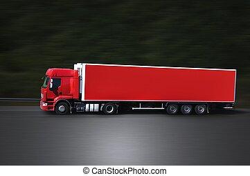 赤いトラック, 上に, 道