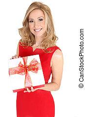赤いドレス, プレゼント, 女性, 保有物