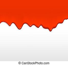 赤いペイント, したたり, から, a, wall.