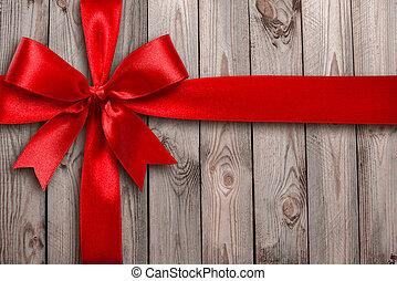 赤いリボン, 上に, a, 木製である, 背景