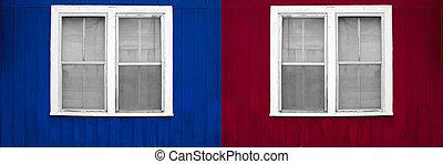 赤い壁, 白, 窓