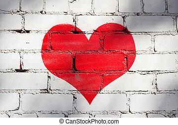 赤い心臓, 白, 壁, 背景