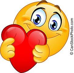 赤い心臓, emoticon, 抱き合う