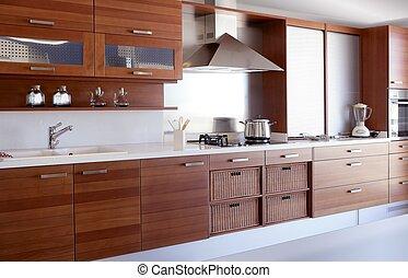 赤い木質, 台所, 白, 台所, ベンチ