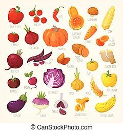 赤い果物, vegetables., 黄色, 変化