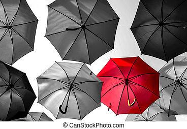 赤い洋傘, 際立, から, ∥