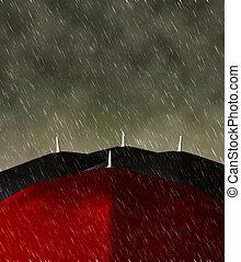 赤い洋傘, 雨