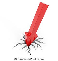 赤い矢印, 壊れる, floor., 概念, の, 破産, 財政, 崩壊, 憂うつ, 失敗, お金, crisis.,...