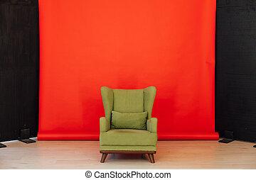 赤い緑, 内部, 部屋, 黒, 椅子, 型