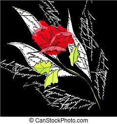 赤い背景, オリジナル, バラ