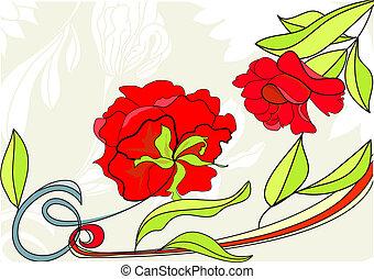 赤い背景, バラ